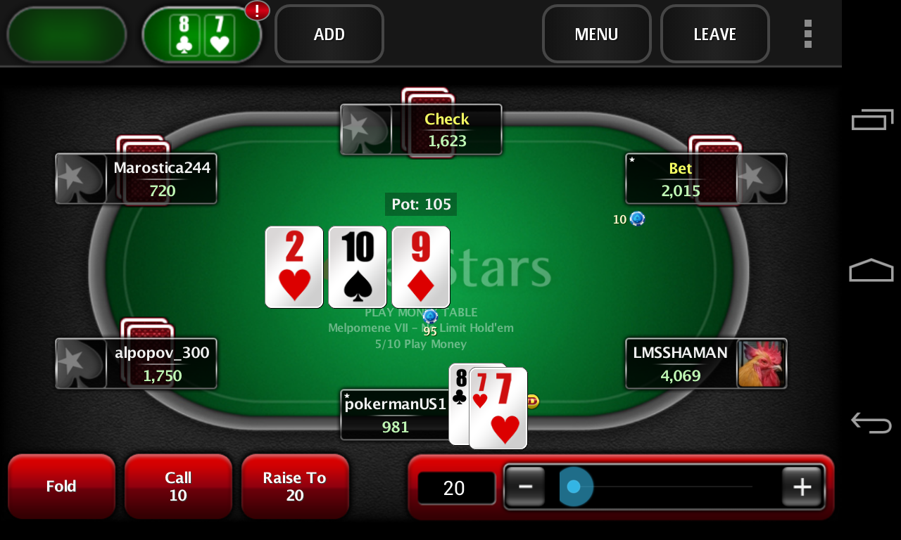 pokerstars app only play money