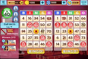 Bingo party app screen