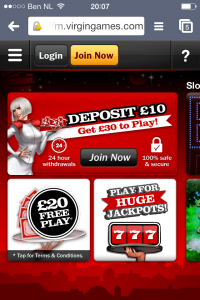 Virgin Games Casino app